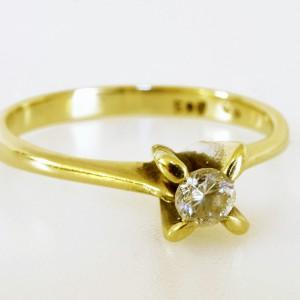 Anello Solitario in oro giallo 14KT